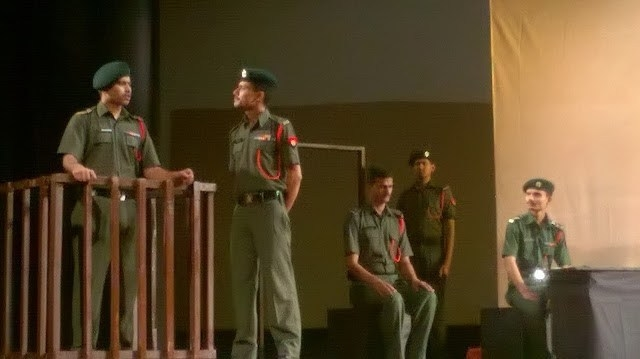 Fig 1: The Ranglok group performed Court Martial by Swadesh Deepak in the Soorsadan auditorium of Agra on September 9, 2017. The play addresses casteism prevalent in Indian military ranks.