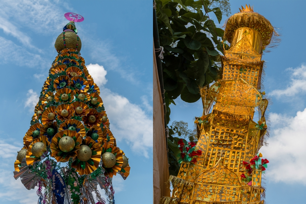 Fig. 10:A taziya resembling a Christmas tree in its shape and decoration (left) with a taziya made from plastic sheets that looks like a high tower