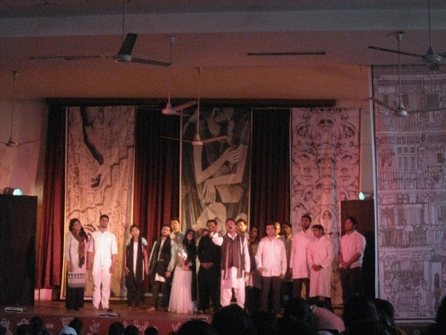 Fig 3: Ranglok group has also developed its own play titled Arey Bhai Manto based on adaptations of short stories written by Saadat Hasan Manto. The group has performed this play in Bhopal as well as Agra. This picture is from its Agra performance staged at Baikunthi Devi Girls' College in Agra on January 16, 2017.