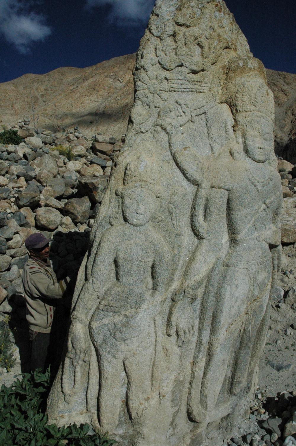 Fig. 5. The rocksculpturein Digar village of Nubra valleyis the largest in the Leh district (Courtesy: Tashi Morup, 2004)