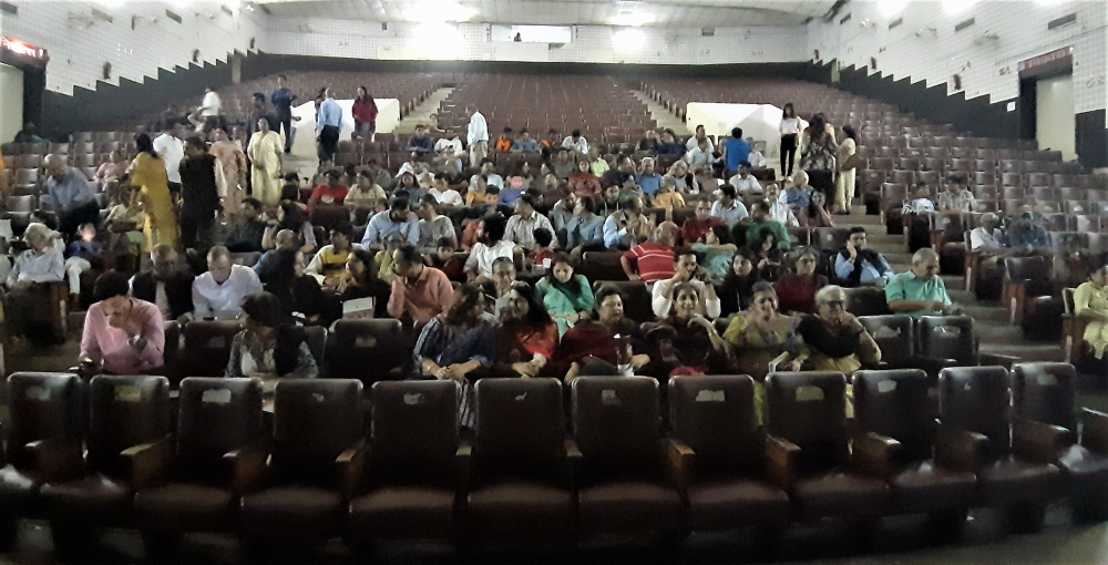 Fig 5: A picture from the 2019 Ranglok Theatre Festival. This was the third edition of the multi-day theatre extravaganza in which four plays were performed. This picture shows the audiences filling up the seats before the play is about to begin.
