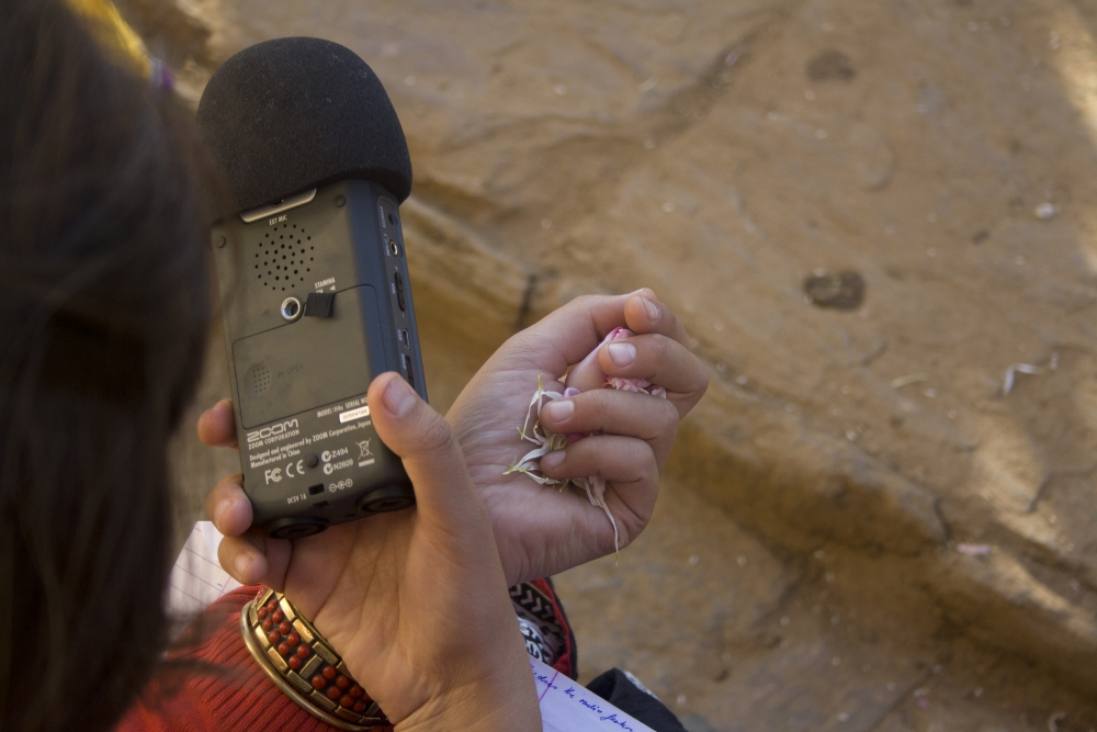Fig. 4. The technology used in community radio stations in India is simple and accessible. Recordings are usually done on portable recorders which are both simple to operate and easy to monitor. Accessible technology also allows for more people to work as content producers and allows radio broadcasters more mobility to record material, unencumbered by bulky equipment (Photograph by Shweta Radhakrishnan/ Courtesy: People's Power Collective)