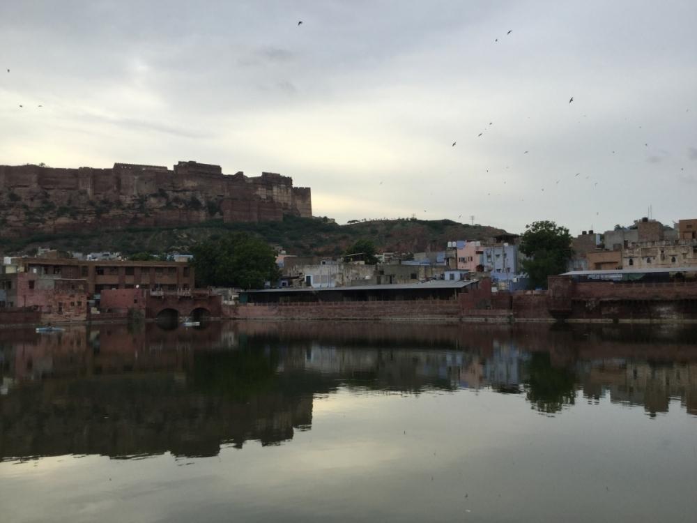 Fig 7:The Gulabsagar seen against the cityscape of Jodhpur