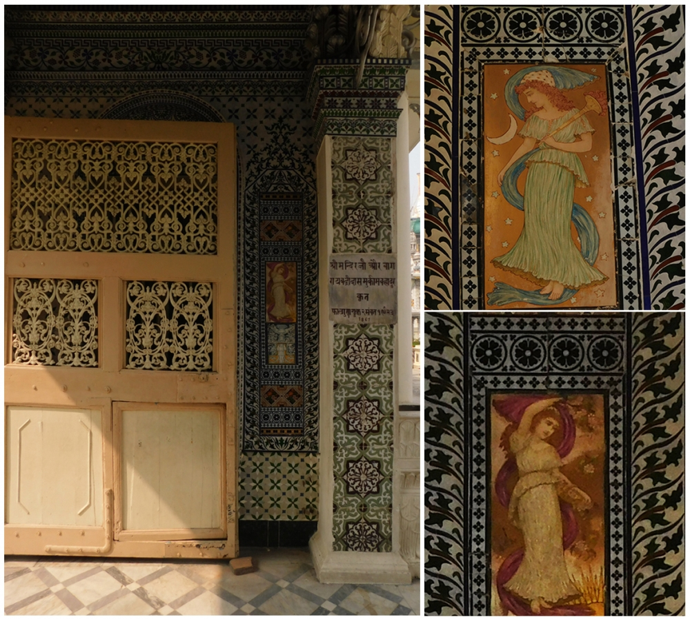 Fig. 7: The entrance itself is highly ornate. Among the geometric and floral motifs, there are two tiles with two figures of European women in gowns. They may be fairies or nymphs representing day/night or the earth/the sky and, as each of the pair is placed on either side of the entrance, their function is probably to usher the devotees and visitors into the temple compound. Almost similar kinds of figures could be found in various popular visual mediums of the 19th century Calcutta (Photo courtesy: Sritama Halder)