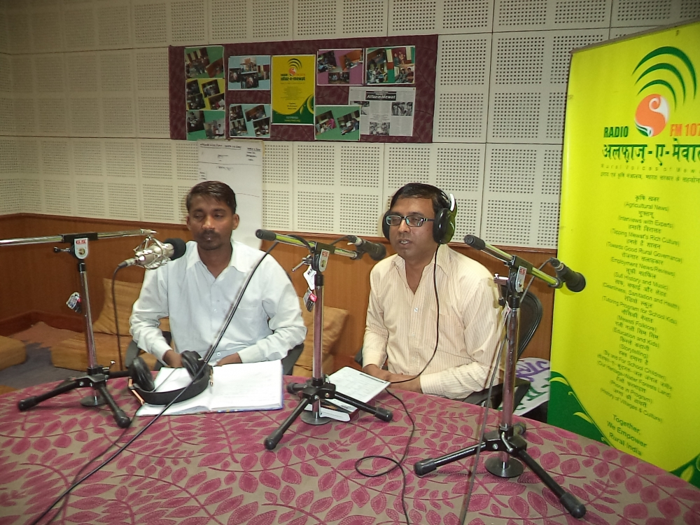 Fig. 8. Fakat Hussain, senior broadcaster with Alfaz-e-Mewat, in a live session with Dr Jitender, in charge of immunisation in Mewat. Community radio stations are important sources of information for the communities they cater to and work to ensure that they share localised information pertinent to their catchment communities from trusted source (Courtesy: Alfaz-e-Mewat)Fig 9: Fakat Hussain, senior broadcaster with Alfaz-e-Mewat, in a live session with Dr Jitender, in charge of immunisation in Mewat. Community radio stations are important sources of information for the communities they cater to and work to ensure that they share localised information pertinent to their catchment communities from trusted source (Courtesy: Alfaz-e-Mewat)