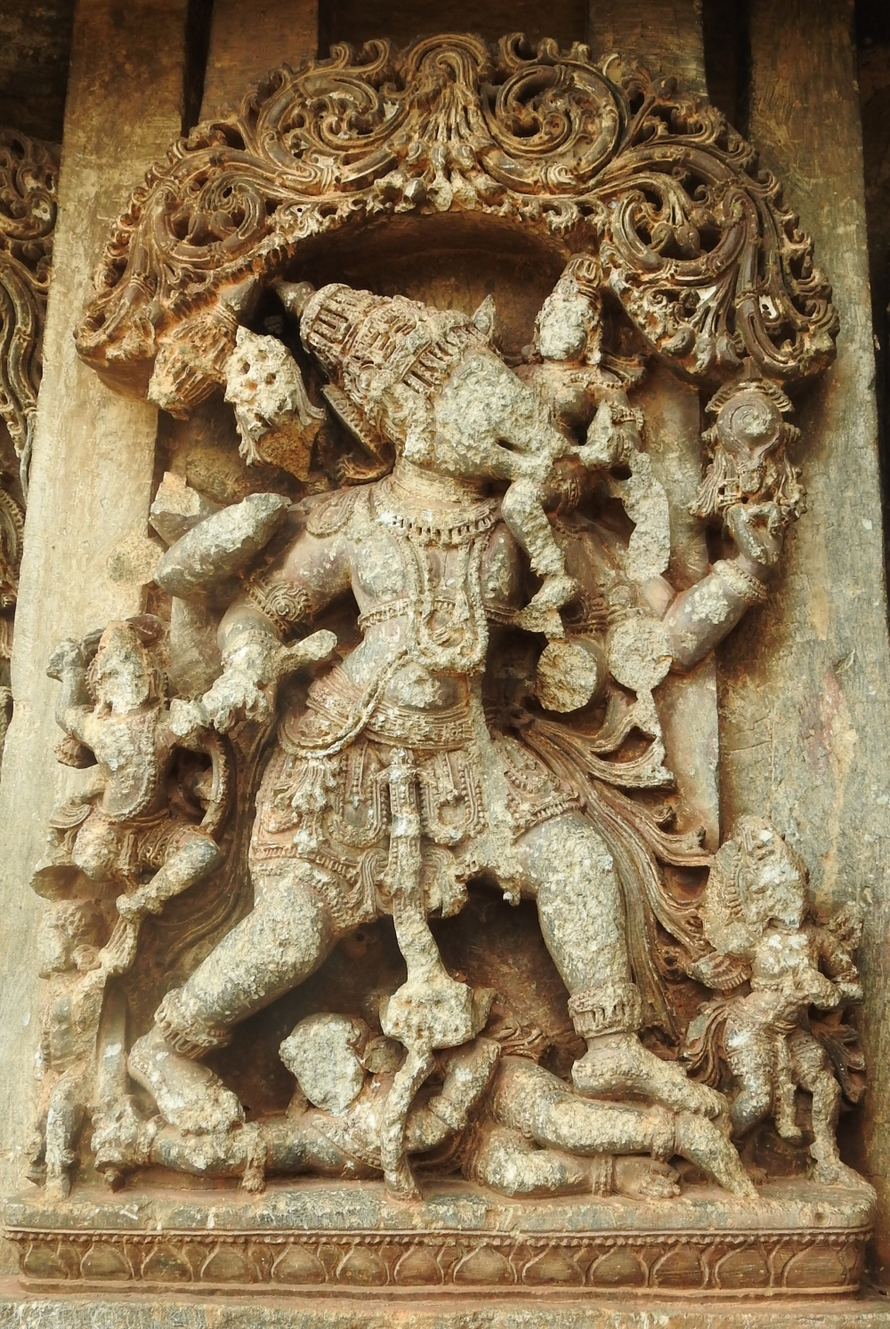 Fig. 11: The image of Bhuvaraha recovering Bhudevi from the depths of the ocean displayed on the jangha. Bhudevi is perched on the tusks of the Varaha while he is shown fighting with demon Hiranyaksha.