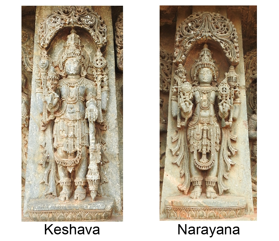 Fig. 4: Keshava is seen holding lotus in his lower right hand, conch in upper right hand, discus in upper left hand, and mace in lower left hand, while Narayana holds conch in his lower right hand, lotus in upper right hand, mace in upper left hand and discus in lower left hand. Keshava and Narayana are first and second form of the chaturvimshati murtis of Vishnu, and are seen on the jangha (wall frieze) of the temple