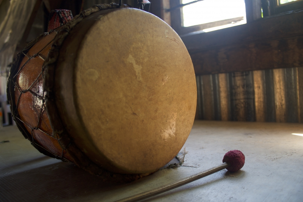 Fig. 4:Nkhuangh viewed from the side. Nkhuangh is the main membranophone instrument of the Ruangmei people. The membrane is made from buffalo skin; the skin is dried in the sun, soaked overnight and its hair follicles are cleaned so that the membrane of the drum is smooth and provides a good echo when hit (Courtesy: R. Husuang)