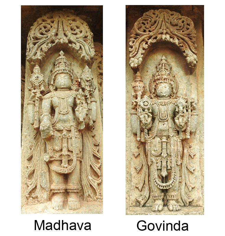Fig. 5: Madhava and Govinda are third and fourth form of the chaturvimshati murtis of Vishnu. Madhava stands upright holding discus in his upper-right hand, conch in upper left hand, and lotus in lower left hand, while his lower right hand where he should have been holding a mace is broken. A well-ornamented sculpture of Govinda stands holding discus in his lower right hand, mace in upper right hand and conch in lower left hand, while his upper left hand which could have been holding a lotus is broken.