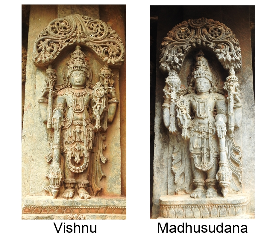 Fig. 6: A square-faced, well-ornamented Vishnu holding mace in lower right hand, lotus in upper right hand, conch in upper left hand and discus in lower left hand, while Madhusudana is holding discus in lower right hand, conch in upper right hand, lotus in upper left hand and mace in lower left hand. Vishnu and Madhusudana are the fifth and sixth form of the chaturvimshati murtis of Vishnu