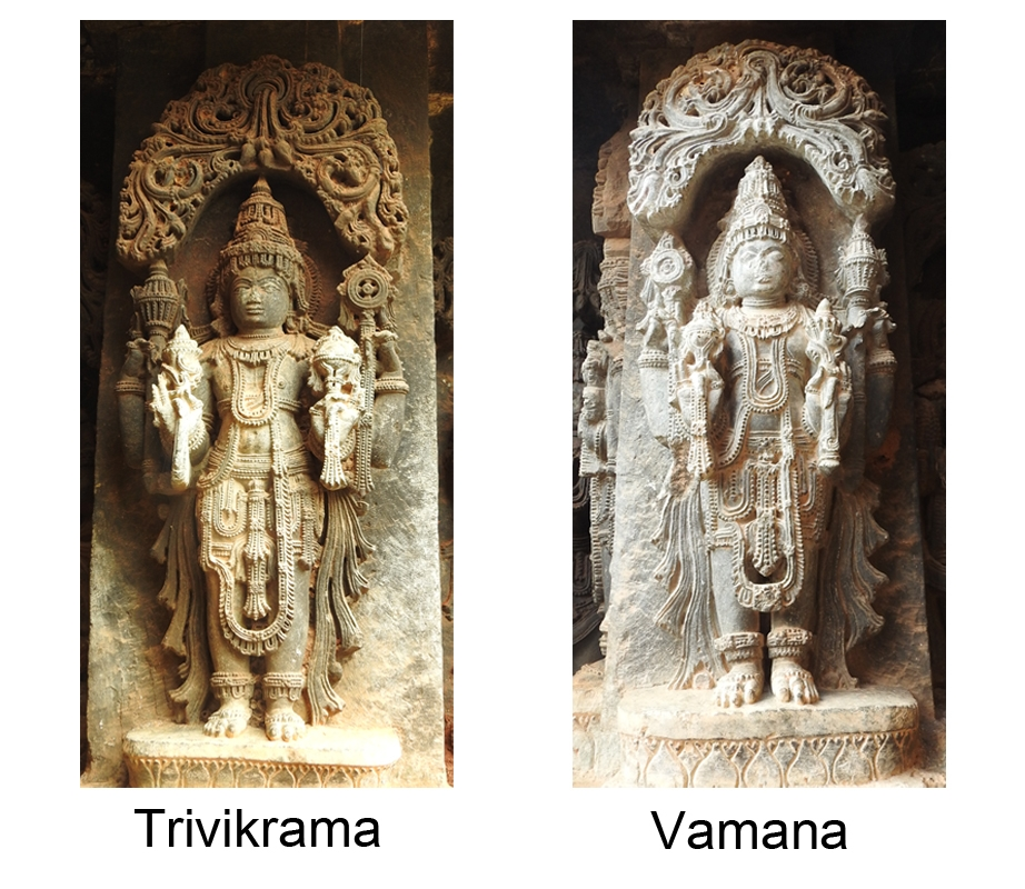Fig. 7: A stout sculpture of Trivikrama holds lotus, mace, discus, and conch in lower right, upper right, upper left and lower left hands respectively. Attributes in Vamana's hands mirror the attributes from Trivikrama's hands. Trivikrama and Vamana are the seventh and eighth forms of chaturvimshati murtis.