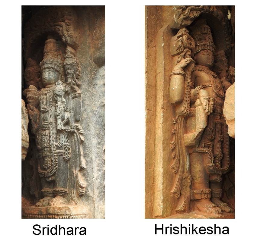 Fig. 8: Ninth and tenth forms of chaturvimshati murtis of Vishnu, Sridhara and Hrishikesha stand in the crammed niches of the outer wall of the temple. Sridhara holds lotus, discus, mace, and conch in his lower right, upper right, upper left, and lower left hands, respectively. A stocky sculpture of Hrishikesha holds discus in his upper right and lotus in upper left hand while the mace in his lower right hand is half broken and conch in his lower left hand is not visible due to the placement of the figure in the niche