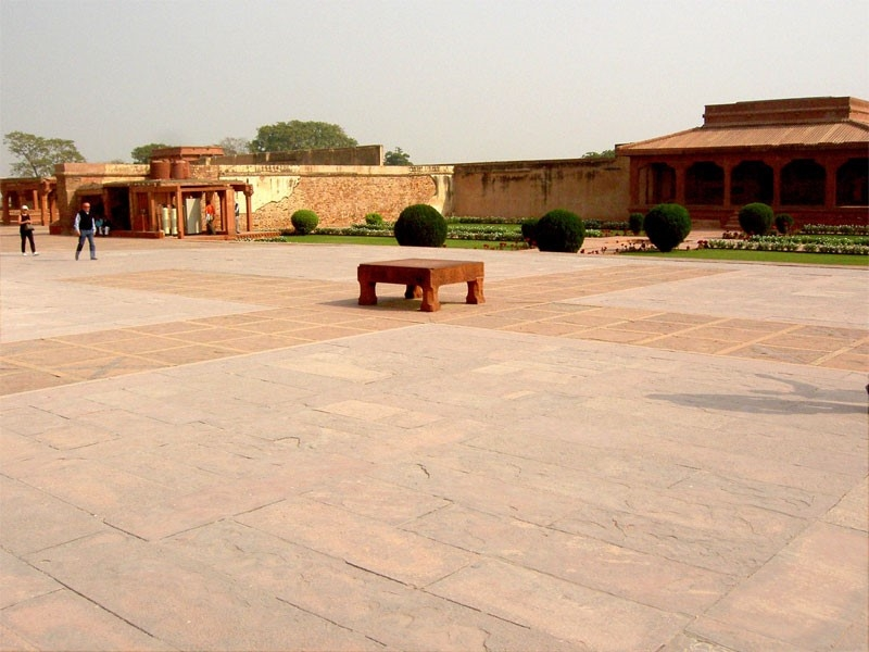 Fig.1.The Pachisi courtyard located inside the Fatehpur Sikri Complex in Agra. Pachisi also known as Chaupar was accepted as an imperial game in Akbar's court. (Courtesy: Wikimedia Commons)