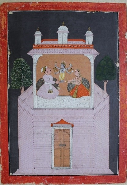 Fig. 1. Vishnu appears to Devaki and Vasudeva in their chamber. An illustration from the Bhagvata Purana. School of Laharu, 1758. (Courtesy: Bhuri Singh Museum, Chamba)