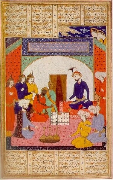 Fig.2. Indian ambassadors presenting chaturanga to Khusrow I, as depicted in the 'Treatise on Chess', 14th-century Persian manuscript. (Courtesy: Wikimedia Commons)