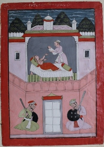 Fig. 2. Vasudeva gives Yogamaya to Devaki. An illustration from the Bhagvata Purana. School of Laharu, 1758. (Courtesy: Bhuri Singh Museum, Chamba)