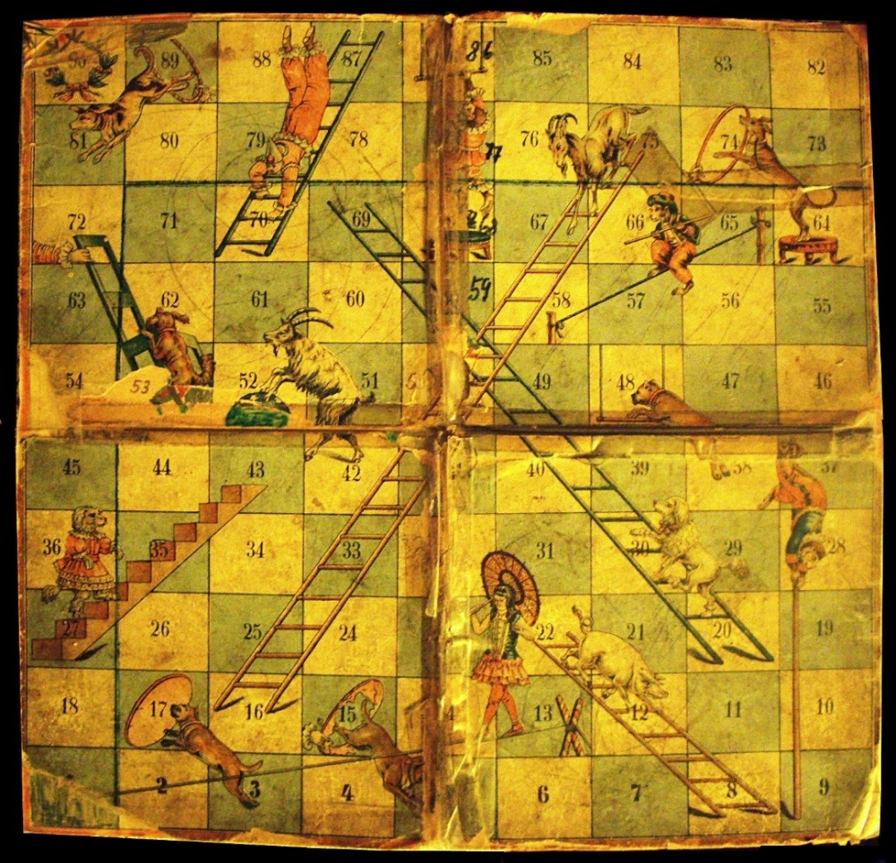 Fig.3.Lieterspiel, a version of chaupar was developed by J.W.Spears & Söhne  in Germany in the early 20th century. Though the word 'lieterspeil' translated to snakes and ladders, this board game consisted of circus animals instead of snakes. (Courtesy: Wikimedia Commons)