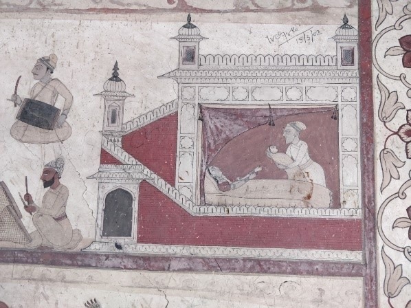 Fig. 3. Vasudeva takes infant Yogamaya from Yashoda. Devi Kothi murals, Chamba.(Courtesy Sarang Sharma)
