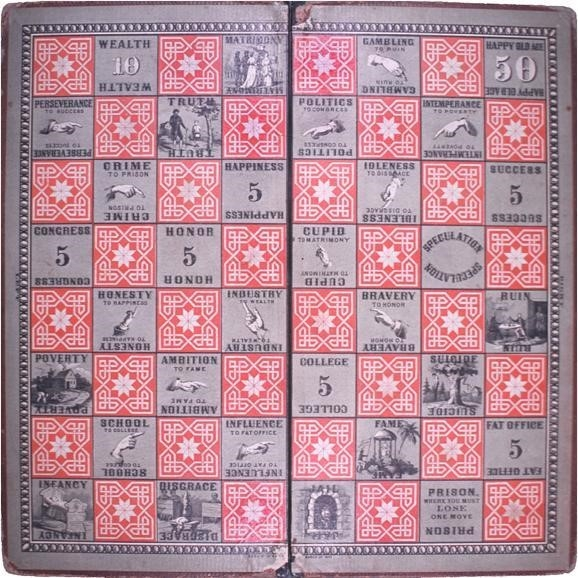 Fig.2. The Chequered Game of Life sold by Milton Bradley became extremely popular in the 1920s. This game is a variation of gyan chaupar. (Courtesy: Wikimedia Commons)