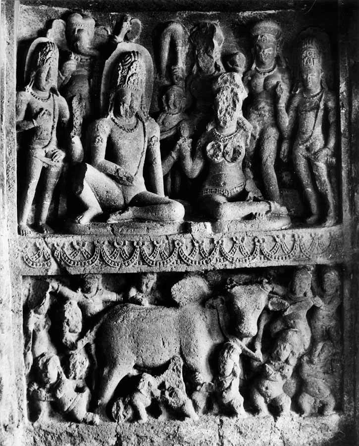 Fig.3. Shiva and Parvati playing backgammon in the top panel, while ganas in the lower panel fight over the bull (possibly because Parvati has won and Shiva has staked his bull in the gamble. (Courtesy: Digital South Asian Library, American Institute of Indian Studies, Gurgaon)