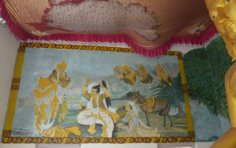 Fig. 4:Made by a local artist on the walls ofChongkham Buddha Vihar, Chongkham, Arunachal Pradesh,this painting shows PrinceSiddhartha Gautamacutting his hair before renouncing his royal life to begin the life of an ascetic.Paintings of events from the Buddha's life and Jataka tales are either hung on or directly painted on the walls of the prayer halls(Courtesy: Ajanta Das)