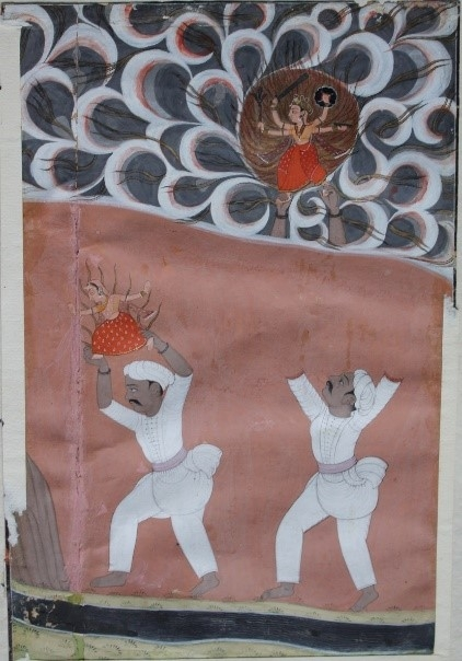 Fig. 4. Yogamaya slips from the hands of Kamsa's servant. School of Laharu, 1758. (Courtesy of Bhuri Singh Museum, Chamba)
