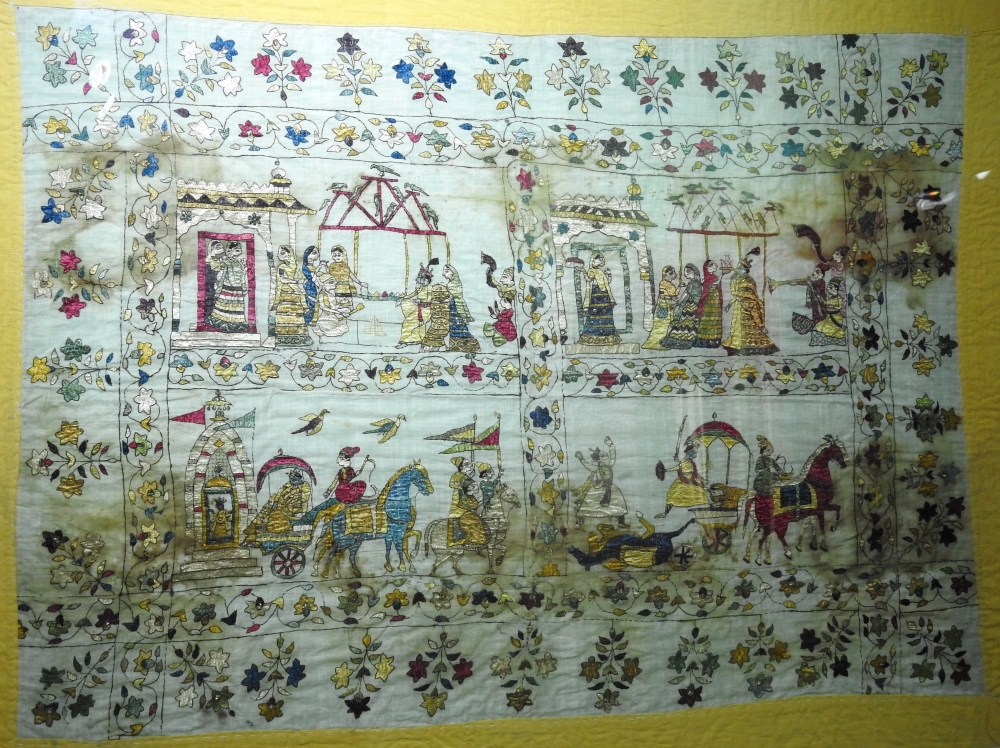 Fig. 4:Rukmini Haran, 1800, made on muslin, Himachal State Museum Collection.An old Chamba rumal depicting a scene from Krishna's wedding, 'Rukmini Haran'. The story of 'Rukmini Haran' is part of the Bhagavatpurana which was a very popular theme in Pahari painting as well
