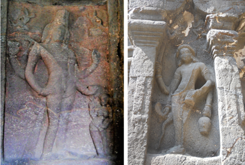 Fig.5.Bhikshatana Shiva on the proper right; Dandapani Bhairava on the left (Courtesy: Nikita Rathore)