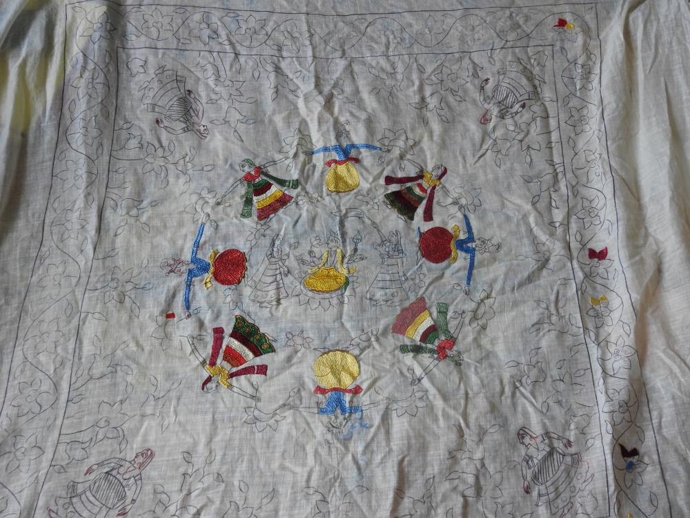 Fig. 5:Raasmandala, in progress, 2019 by embroidery artist Heena and Parikshit Sharma, made with silk thread on cotton (Courtesy: Heena)