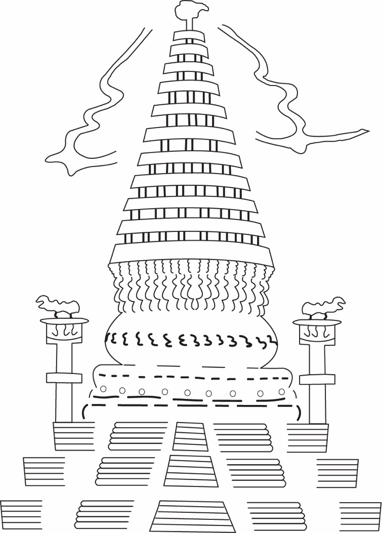Fig. 6. Drawing of a stupa depicted on a terracotta plaque at Harwan (Courtesy: Dr Rashid Abdul Lone)