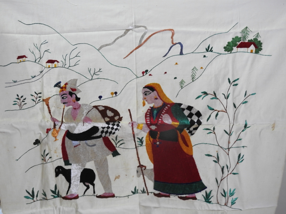Fig. 6:Gaddi Gaddanby embroidery artist Rajinder Kumari Nayyar and miniaturist Prem Lal, made with untwisted resham (silk) thread on cotton fabric in the 1960s.This Chamba rumal was made by Rajinder Kumari Nayyar when she worked at the Chamba rumal centre set up by the Himachal Pradesh government. Gaddi Gaddan shows the Gaddi community of Chamba, a shepherd community who are among the oldest inhabitants of Chamba. Gaddi people are culturally involved and are at the centre of many Chamba folk songs as protagonists as well as performers.(Courtesy: Rajinder Kumari Nayyar)