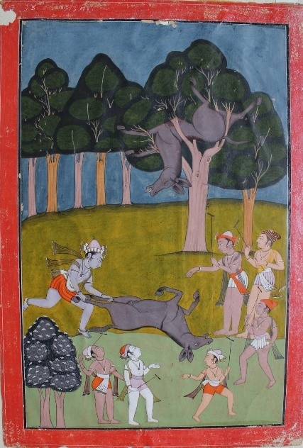 Fig. 6. Krishna slaying Dhenukasur. School of Laharu, 1758. (Courtesy: Bhuri Singh Museum, Chamba)