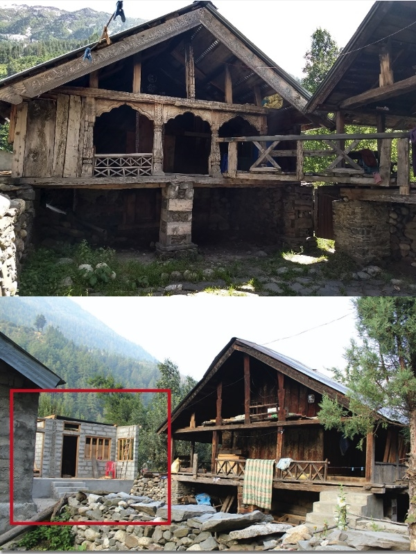 Fig. 15: An old house being reconstructed with new materials and technology, completely ignoring the context, local materials, local skill, and construction knowledge