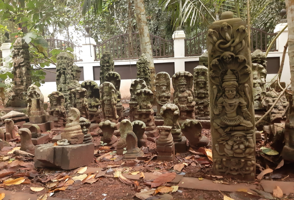 Fig 1. Serpent idols at Vetticode Nagaraja temple. These idols are representative of deities like Nagaraja, Nagayakshi, Nagachamundi, Nagakanyaka, and Maninaga. The idols are mostly made of rock and occasionally with panchaloha (five metals), a mix of gold, silver, iron, copper, and zinc. On the day of ayilyam (ninth day of Hindu astrology) every month, these idols are smeared with turmeric and salt, and ritualistic offerings are made