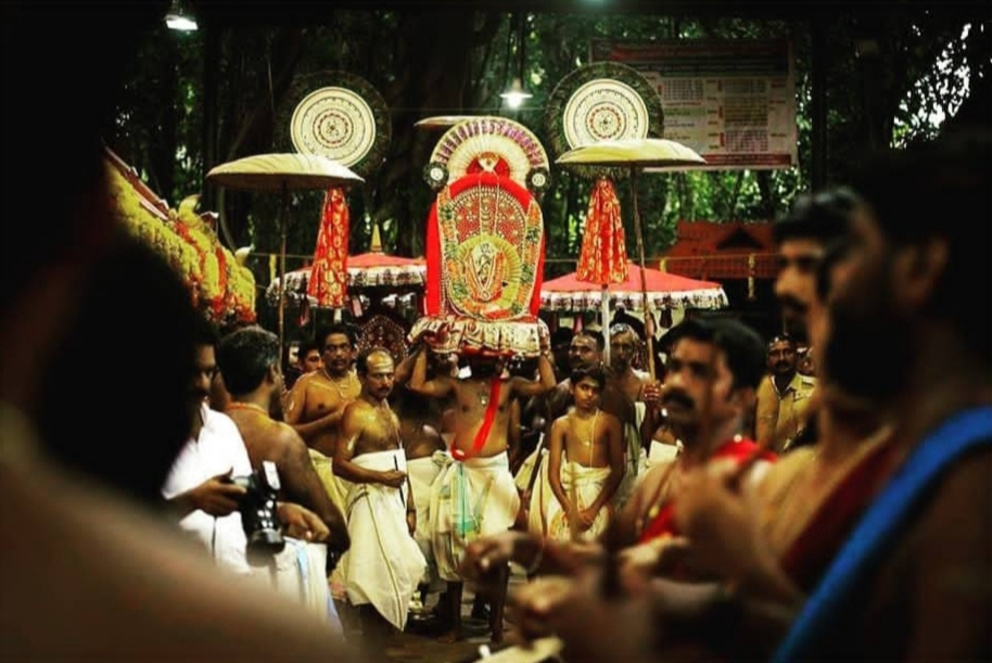 Fig 2. Ceremonial procession at Vetticode temple during Ayilyam festival. The idol of Nagaraja is decorated with flowers and silk, and the chief priest carries the idol from temple to Meppallil Illam. The procession is accompanied by the beats of musical instruments, decorated umbrellas, women carrying lamps, and people chanting mantras. It is believed that one who is blessed by the sight of this procession will be protected from animal poison the coming year