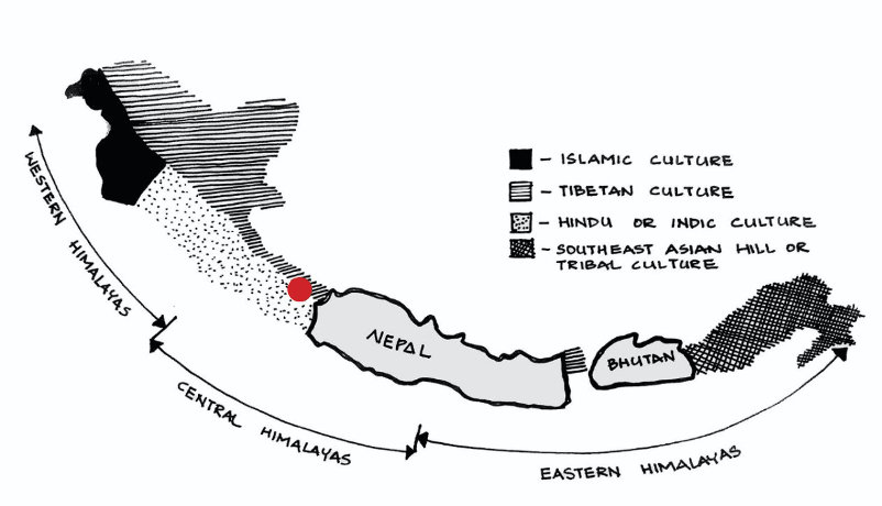 Fig. 3: A map of the Himalayan regions in India showing the various cultural influences. As seen here, one can see the Islamic, Tibetan, Hindu or Indic and tribal cultural influences based on the surrounding regions. The village Bagori (shown in red) lies in the Tibetan and the Hindu cultural influence zone. (Adapted and modified from http://www.nzdl.org/gsdl/collect/hdl/index/assoc/HASH0113/acdd201c.dir/80a02e07.gif)