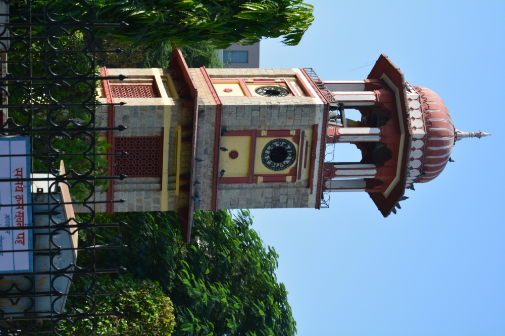 Figure 9: The four-sided clock at Ram Mandir sports cardinal numbers on each face and occupies the first floor in a quadrangular tower