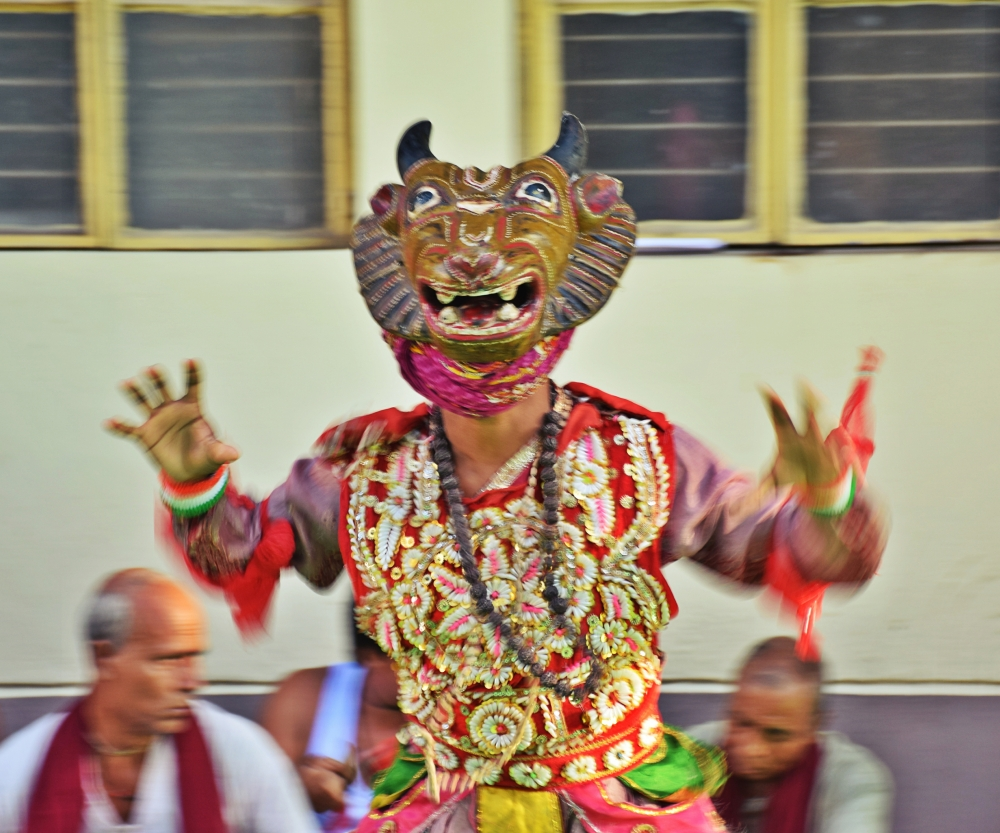Fig. 4: New age khon performances are often accompanied by mukha (mask) dances where the famous wooden mukha of Kushmandi that received the much-coveted G.I tag in 2018 is used to add more colour and vibrancy to khon.