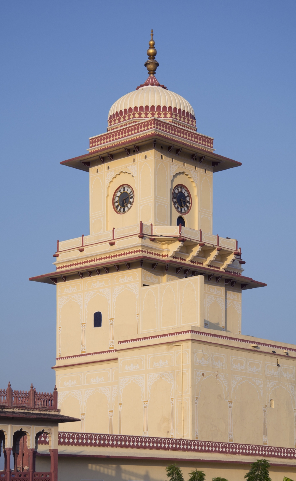 Fig.4: The clock at the City Palace ghanta ghar has four faces and is housed in the topmost floor of a quadrangular tower. A small wooden door visible under the clock's southern face allows entry into the clock room