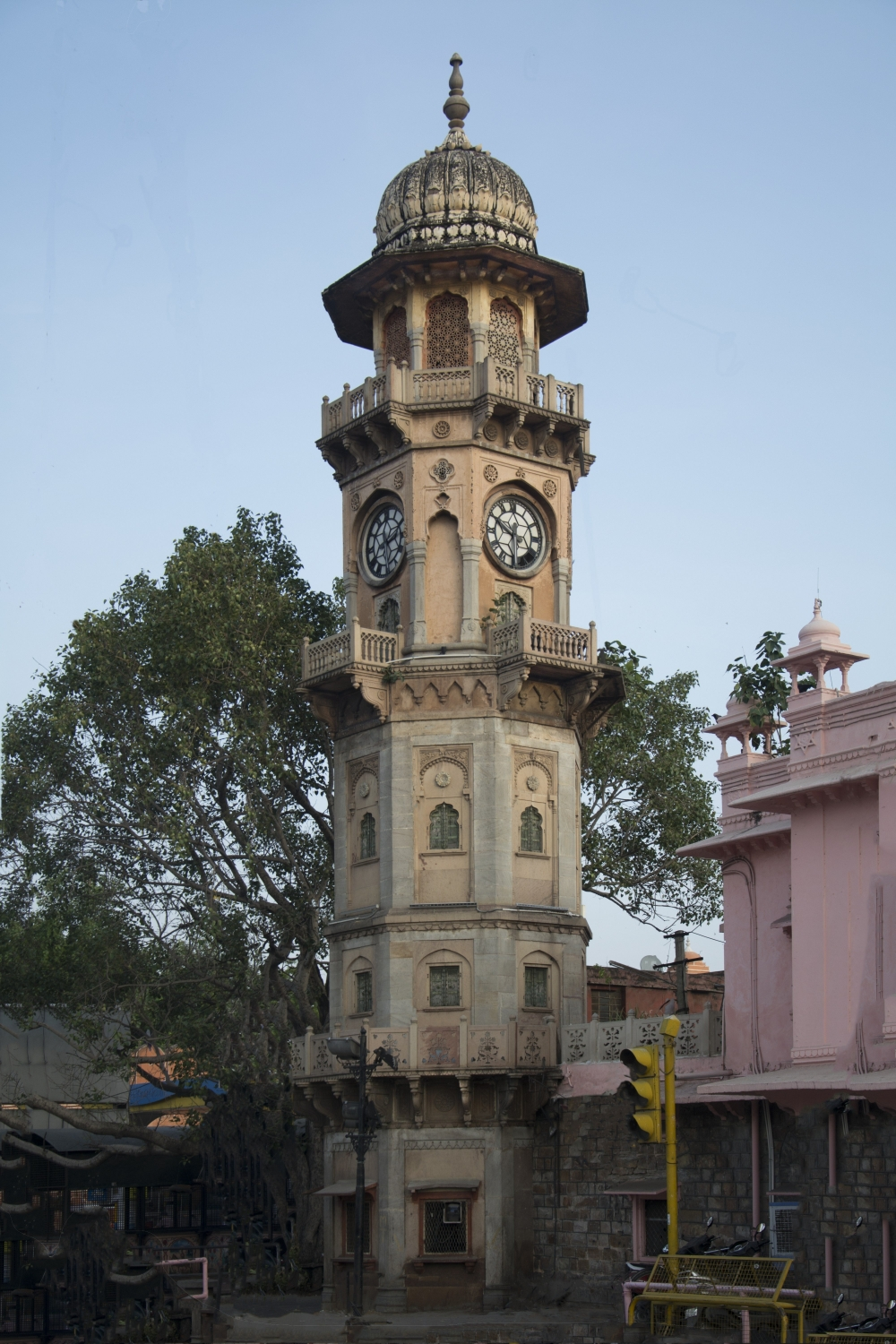 Fig. 6: The tall, thin minaret of theYaadgarghanta ghar houses a four-sided clock, pointing in the four cardinal directions, on its third floor