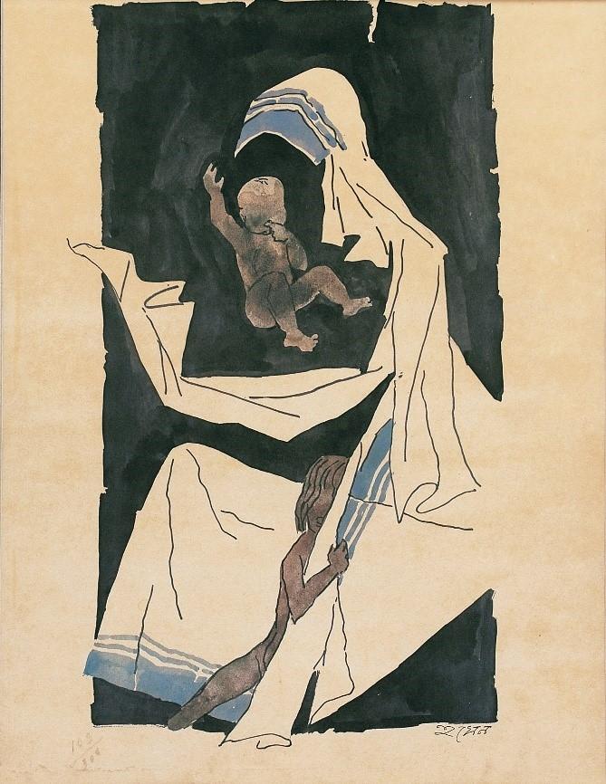 Mother Teresa, Maqbool Fida Hussain, Mother in Indian Art