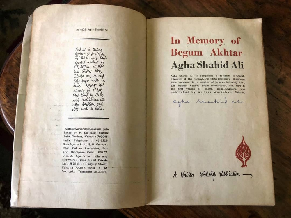 Agha Shahid Ali, In Memory of Begum Akhtar
