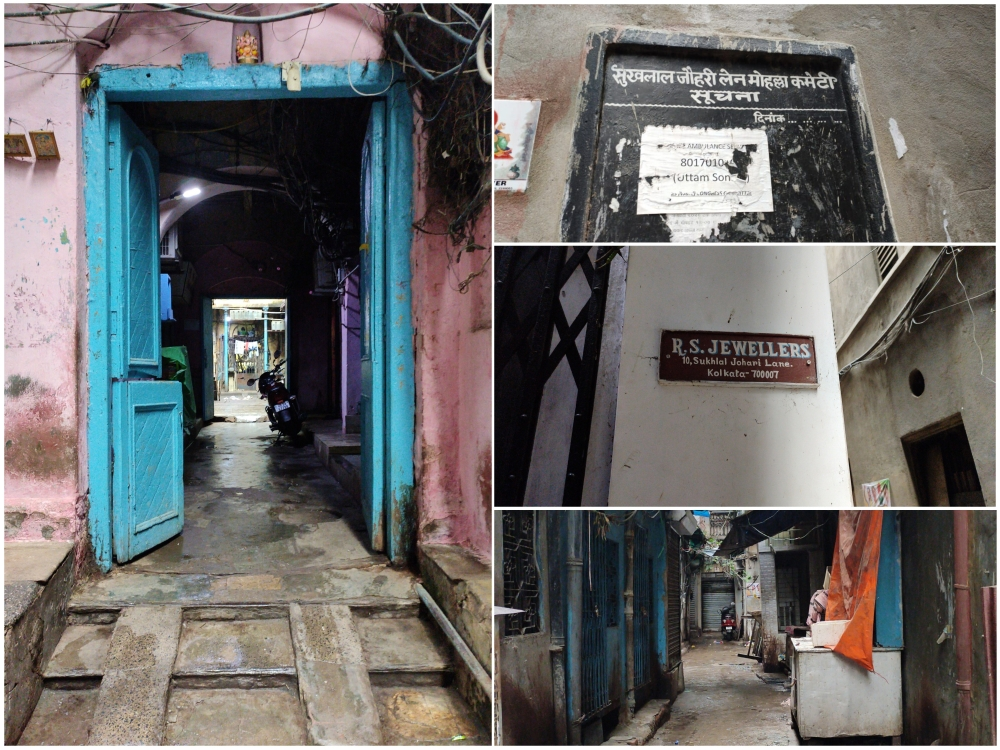 Fig. 9: Sukhlal Johari Lane in Burrabazar. A network of narrow lanes, this street has both shops and private houses. It is claimed that the private houses date back from the pre-Independence era. For more than 30 years, the lane has been called Sukhlal Johari, but the residents of the area are not aware of who Sukhlal Johari was  (Photo Courtesy: Tri Paul)