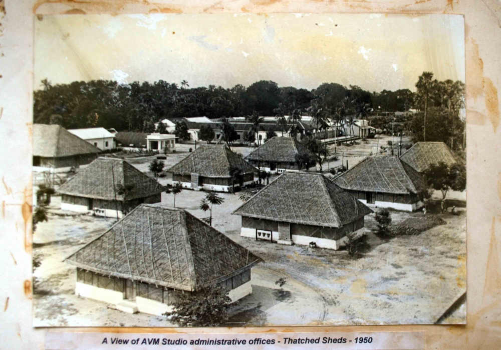 Fig. 3. Thatched sheds that served as AVM Studio's administrative offices, 1950. (Courtesy: Collection of N. Ramesh)