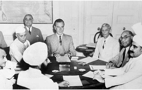 Louis Mountbatten discusses the partition plan with Jawaharlal Nehru and Mohammad Ali Jinnah_WC