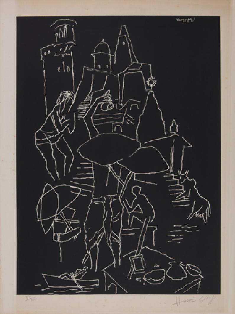 M.F. Hussain, Varansi, serigraph on paper