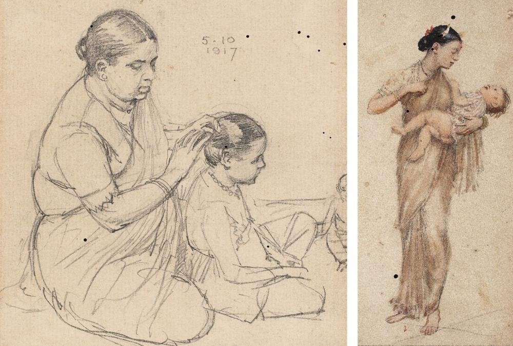 My Wife In Sketches, M.V. Dhurandhar, Mother in Indian Art, DAG