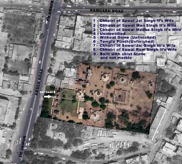 Maharaniyon ki Chhatriyan precinct, Rajasthan, Google Earth