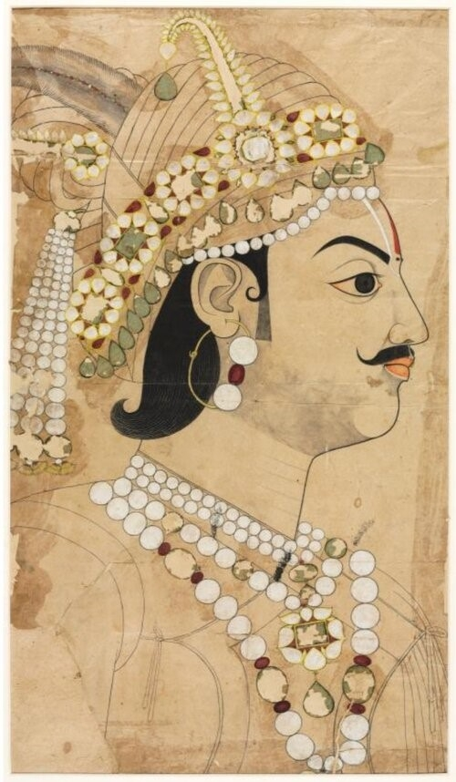 Maharaja Pratap Singh wearing balas, male jewellery, rajasthan, Photo: Cleveland Art Museum