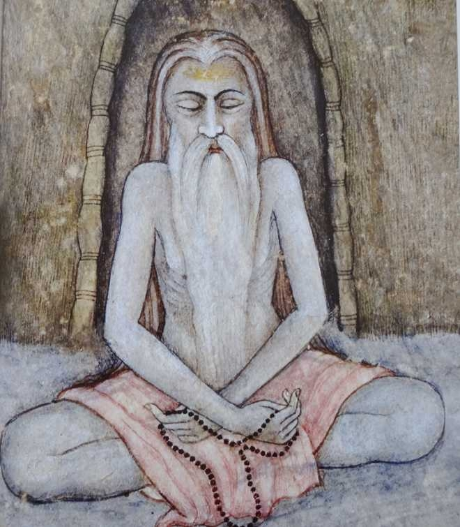 Meditating Sadhu - Mughal, second half of 18th century - Private collection_The Tribune
